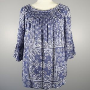 Beach Lunch Lounge Blue Bell Sleeve Blouse - S